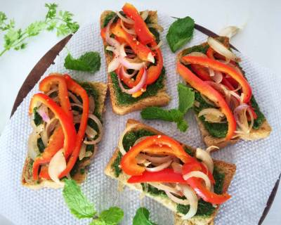Bruschetta With Coriander Mint Pesto And Red Bell Peppers Recipe