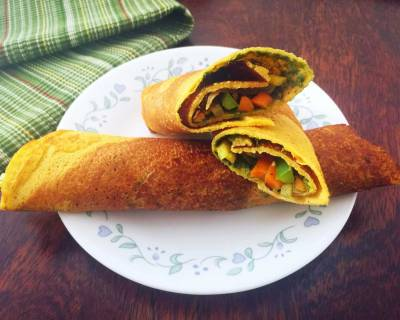 Chickpea Flour Crepes Recipe With Salad And Chutney Spread