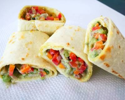 Crunchy Vegetables Tortilla Wrap Recipe