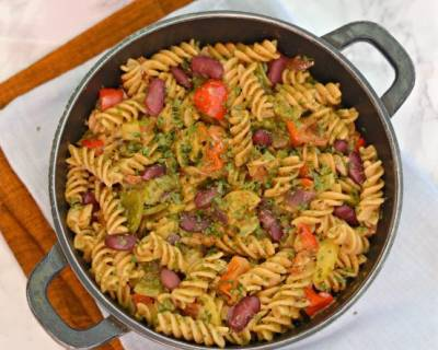 One Pot Vegetable Pasta With Beans Recipe