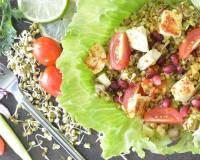 Mung Bean & Tofu Salad Recipe With Sweet Potatoes, Cucumbers & Tomatoes