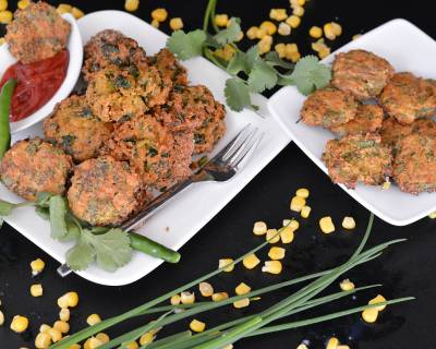Spicy Sweet Corn & Oat Fritters Recipe - Corn Masala Vada