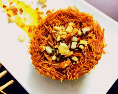 Vermicelli Kunafa Recipe With Paneer & Cream Filling