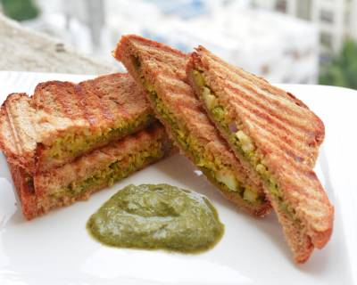 Cauliflower Chutney Grilled Sandwich Recipe