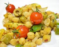Chickpea Salad with Cherry Tomatoes,Olives and Capsicum Recipe