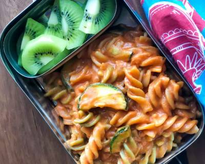 Lunch Box Ideas: Fusilli Pasta, Fruits & Banana Smoothie