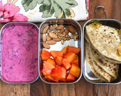 Lunch Box Recipes: Moong Dal Paratha And Beetroot Carrot Raita