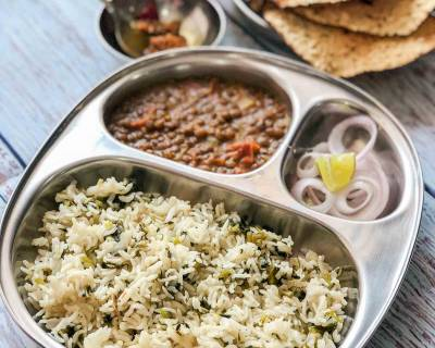 Here's A Simple Weeknight Dinner - Mint Pulao, Masoor Dal Tadka, Pyaz & Achar