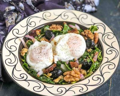 Poached Eggs Recipe With Arugula Fig Walnut Salad
