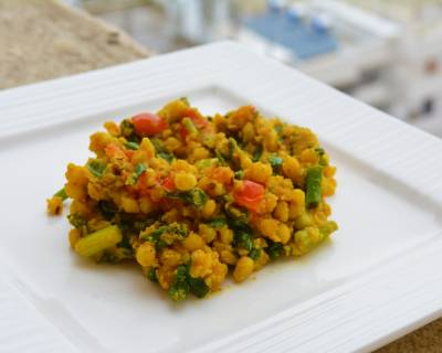 Boondi And Spring Onion Greens Sabzi Recipe