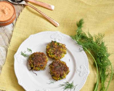 Dill Poha Cutlets Recipe