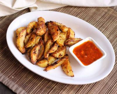 Garlic & Ginger Spiced Potato Wedges Recipe (Baked)