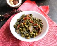 Goan Style Maskachi Bhaji Recipe-Moringa Leaves Stir Fry With Jackfruit Seeds