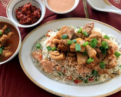 Singapore Style Chicken Layered Fried Rice Recipe