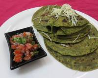 Fusion Spinach Parathas With Onion Tomato Salsa Recipe