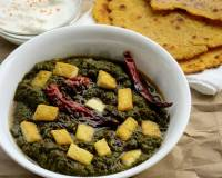 Saag Tofu Recipe (Tofu Simmered in Spiced Mustard & Spinach Leaves)