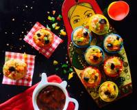 Pizza Flavoured Idli Muffins Recipe