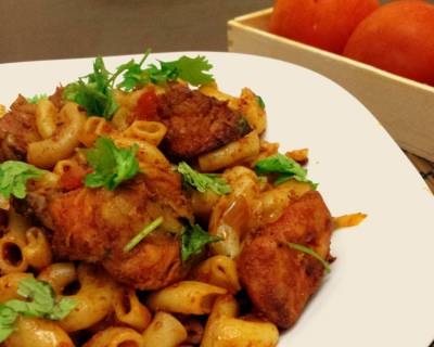 Chicken Tomato Macaroni Recipe- Pasta with Indian Masalas
