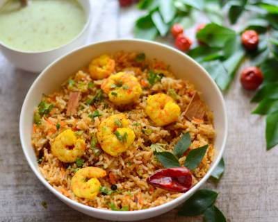 Chettinad Style Prawn Biryani Recipe