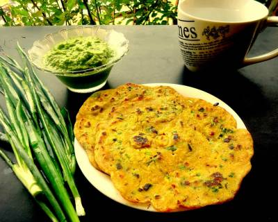 Mixed Flour And Spring Onion Cheela Recipe