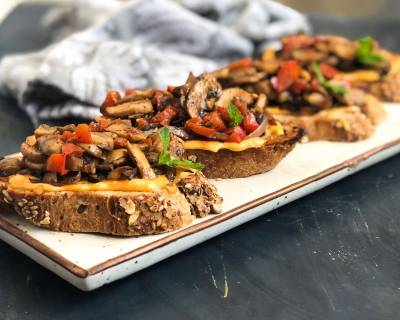 Roasted Mushroom & Caramelized Onion Bruschetta
