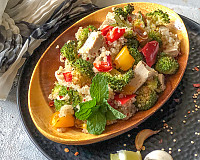 Roasted Broccoli Tofu & Quinoa Salad Recipe with Lemon Garlic Dressing