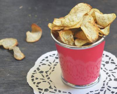 Savoury Baked Arbi Chips Recipe