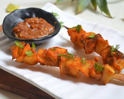 Sweet Potato Pineapple Skewers In Spicy Sweetish Peanut Dip Recipe