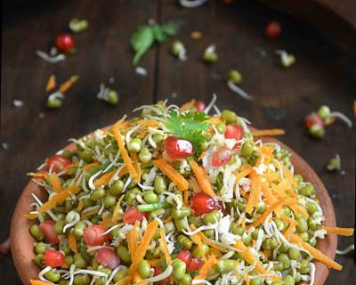 Sprouted Green Gram Kosambari Recipe- With Pomegranates