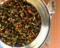 Radish Greens Poriyal Recipe (South Indian Style Radish Greens Stir Fry)