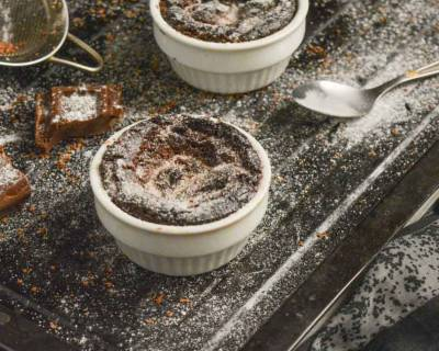 Eggless Coffee Souffle Recipe With Chocolate Sauce