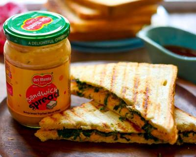 Spinach And Corn Sandwich Recipe Flavored With Sandwich Spread