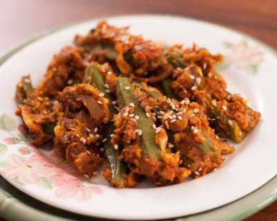 Stuffed Bhindi Recipe With Peanuts