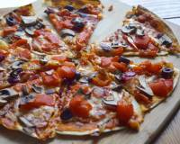 Roasted Peppers And Mushroom Tortilla Pizza Recipe