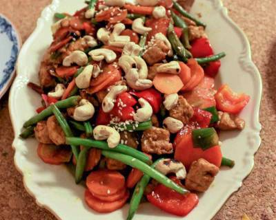 Indo Chinese Soya Stir Fry Recipe With Cashew Nuts