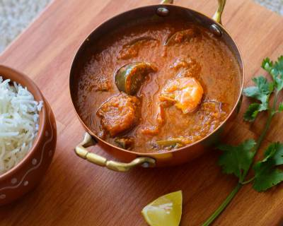 Brinjal Prawns Masala Curry Recipe - Baingan Prawn Masala
