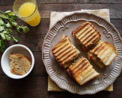 Indian Style Masala Omelette Grilled Sandwich Recipe