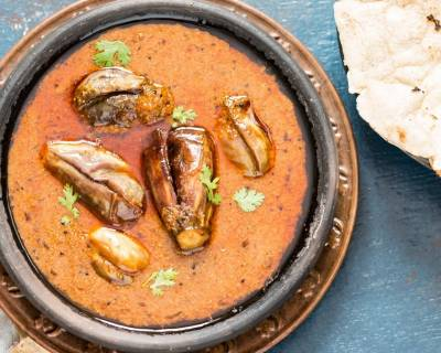 Andhra Style Eggplant Poppy Seeds Curry Recipe