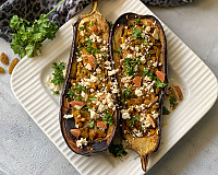 Moroccan Stuffed Roasted Eggplant Recipe