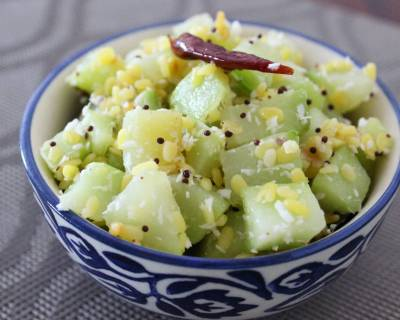 Chow Chow Pasi Paruppu Poriyal Recipe - Chayote Squash And Moong Stir Fry