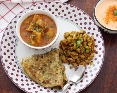 Here's A Delicious Meal For Your Weekend With Mughlai Aloo Lajawab, Soya Bhurji, Methi Thepla And Raita