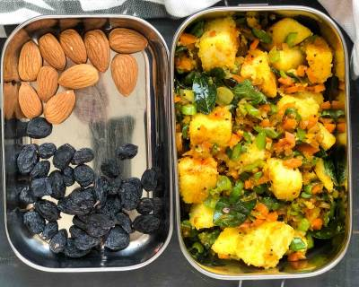 Kids Lunch Box Recipes: Mixed Vegetable Idli Upma Dry Fruits & Nuts