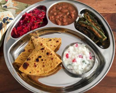 Portion Control Meal Plate - Rajma Masala, Bharwa Bhindi, Thepla And More