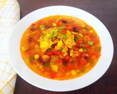 Mexican Fiesta Soup With Roasted Tomatillo Pesto Recipe