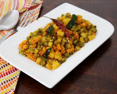 Mixed Vegetables Ajethna Recipe - Mangalorean Style Mixed Vegetables Sabzi