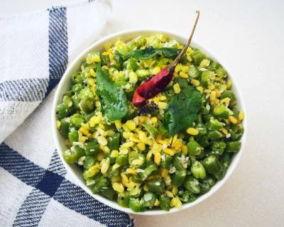 Paasi Paruppu Beans Poriyal Recipe - Moong Dal & French Beans Stir Fry