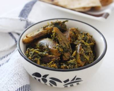 Ringan Methi Nu Shaak Recipe - Gujarati Style Eggplant & Fenugreek Leaves Sabzi