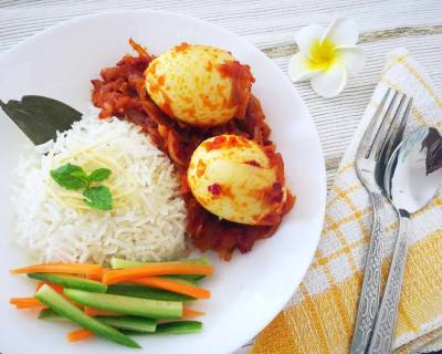Sambal Telor with Nasi Uduk Recipe (Indonesian Style Eggs Cooked in Sambal and Lemongrass Coconut Rice)