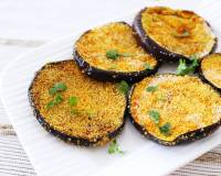 Konkani Style Vaingana Kaap Recipe - Shallow Fried Eggplant With Semolina