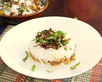 Vegetarian Kabuli Pulao Recipe - Rice Layered With Chickpea Curry